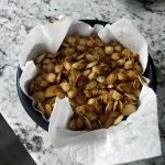 Pumpkin seeds with garlic and spices